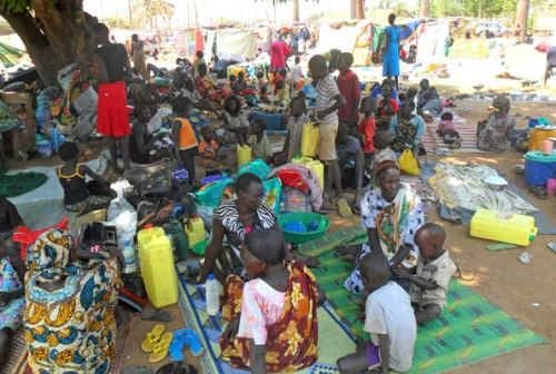 Refugees at Dzaipi reception centre. Image Daily Monitor. Photo by Martin Okudi