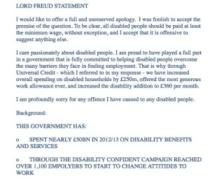 Lord Freud statement