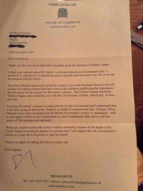 Javid Aamer letter